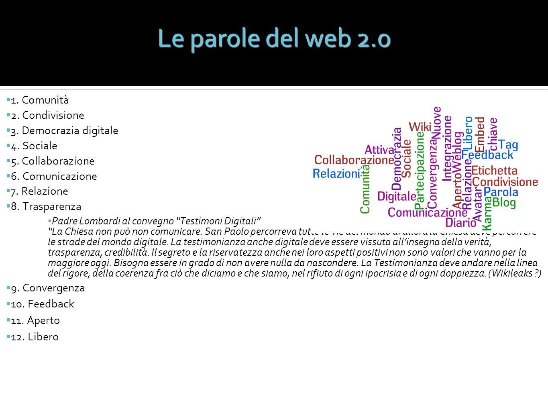 Le parole del web 2.0 1. Comunità 2. Condivisione 3. Democrazia digitale 4. Sociale 5. Collaborazione 6. Comunicazione 7. Relazione 8. Trasparenza Pad