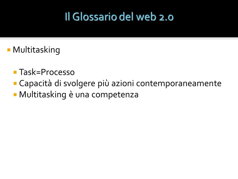 Il Glossario del web 2.0 Multitasking Task=Processo Capacità di svolgere più azioni contemporaneamente Multitasking è una competenza