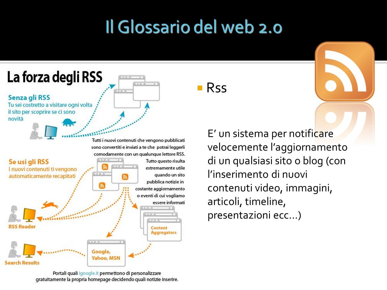 Rss Il Glossario del web 2.0 E un sistema per notificare velocemente laggiornamento di un qualsiasi sito o blog (con linserimento di nuovi contenuti v