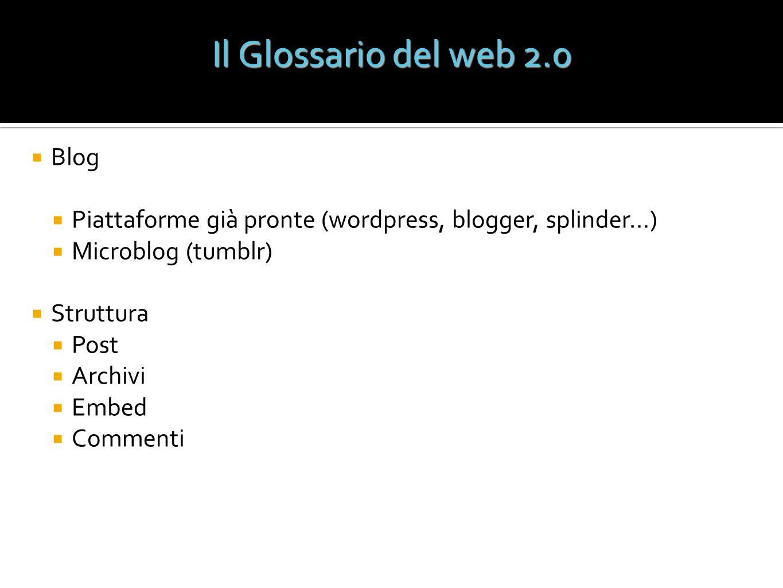 Blog Piattaforme già pronte (wordpress, blogger, splinder…) Microblog (tumblr) Struttura Post Archivi Embed Commenti