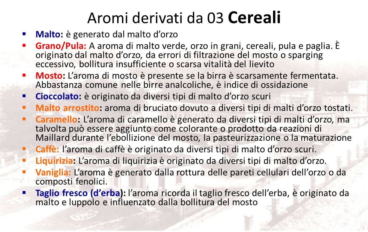 Gruppo 04 Arrostito Normale entro certi limiti sulle birre scure stout munich etc., non è gradito sulle lager, può derivare dalla qualità delle materi
