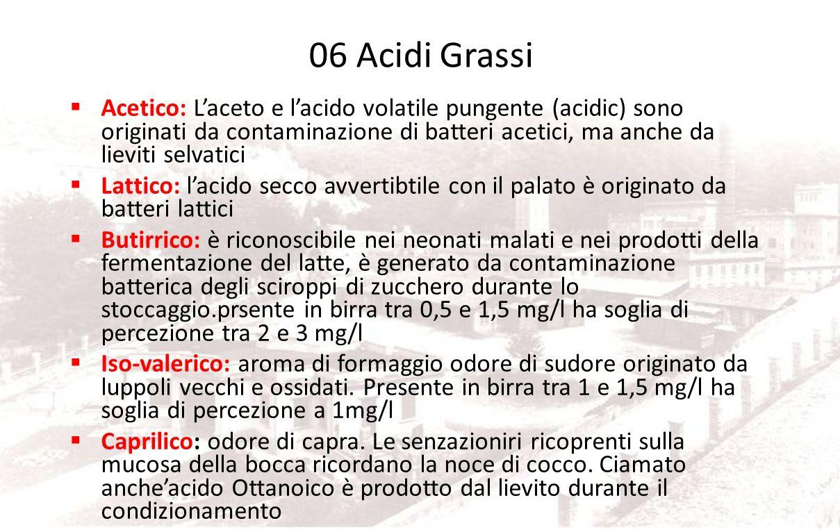 Gruppo 06 Acidi Grassi Salvo casi particolari sono gravi difetti dovuti spesso ad alterazione batterica. Eccetto che per le birre a fermentazione spon