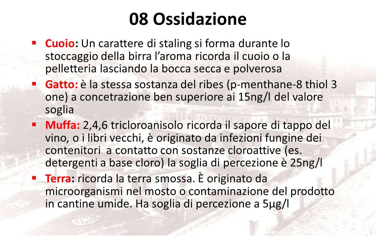 08 Ossidazione Frutta troppo matura/vinoso: Ossidazione come di pera matura, vinoso di Madera. Originato dai processi di ossidazione che coinvolgono l