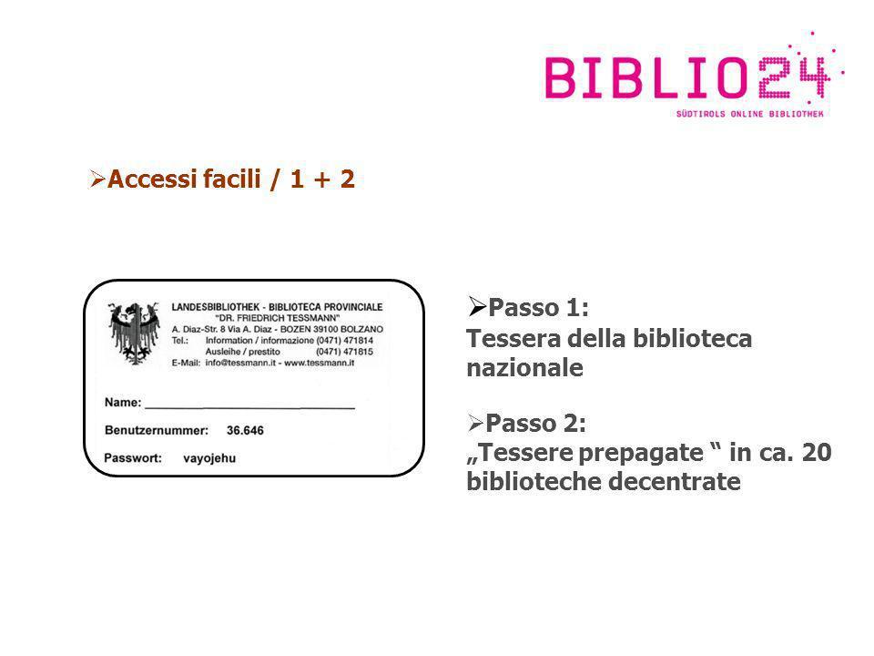 Accessi facili / 1 + 2 Passo 1: Tessera della biblioteca nazionale Passo 2: Tessere prepagate in ca.