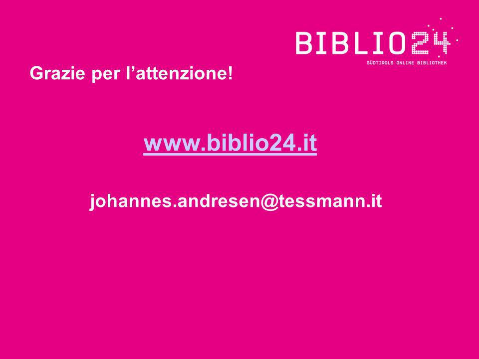 johannes.andresen@tessmann.it Grazie per lattenzione! www.biblio24.it