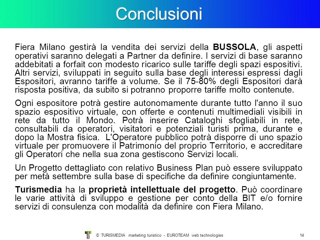© TURISMEDIA marketing turistico - EUROTEAM web technologies14 Fiera Milano gestirà la vendita dei servizi della BUSSOLA, gli aspetti operativi saranno delegati a Partner da definire.