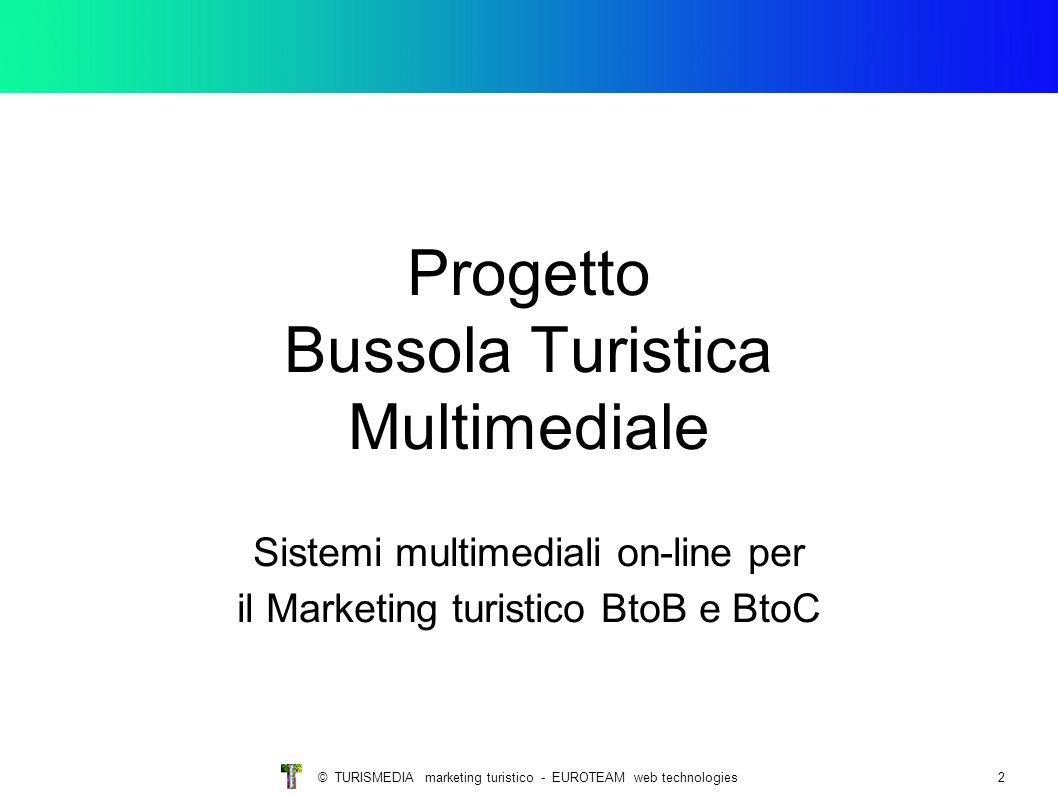 © TURISMEDIA marketing turistico - EUROTEAM web technologies2 Progetto Bussola Turistica Multimediale Sistemi multimediali on-line per il Marketing tu