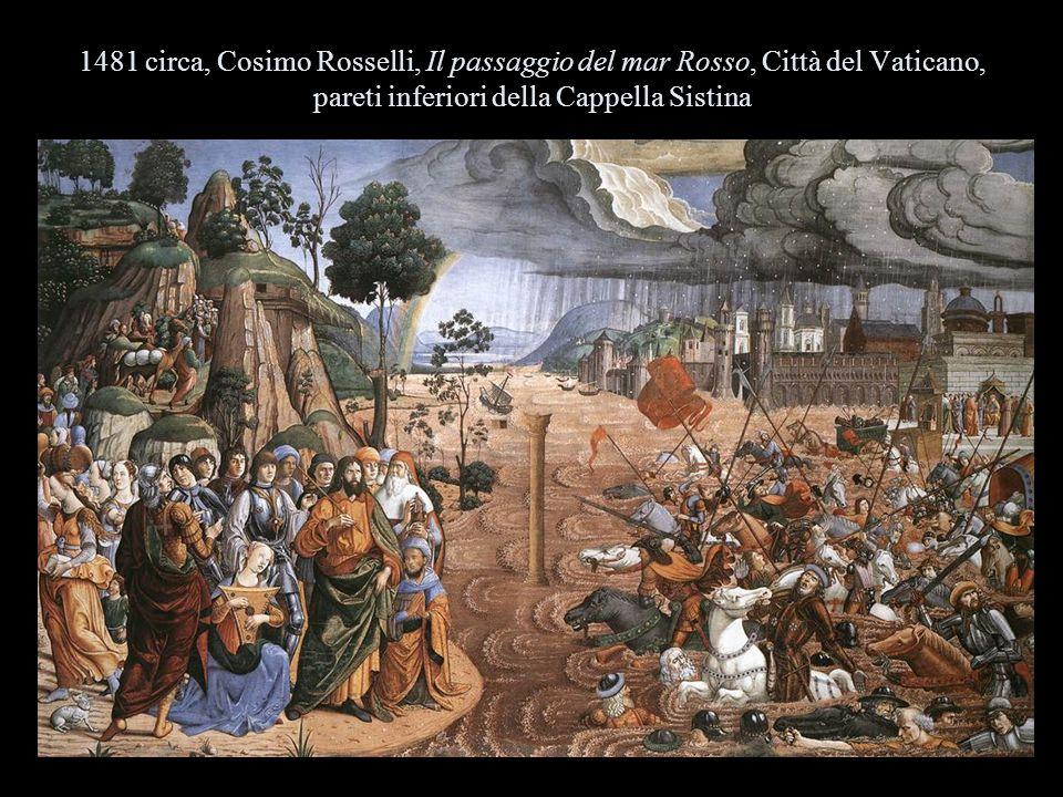 1481 circa, Cosimo Rosselli, Il passaggio del mar Rosso, Città del Vaticano, pareti inferiori della Cappella Sistina