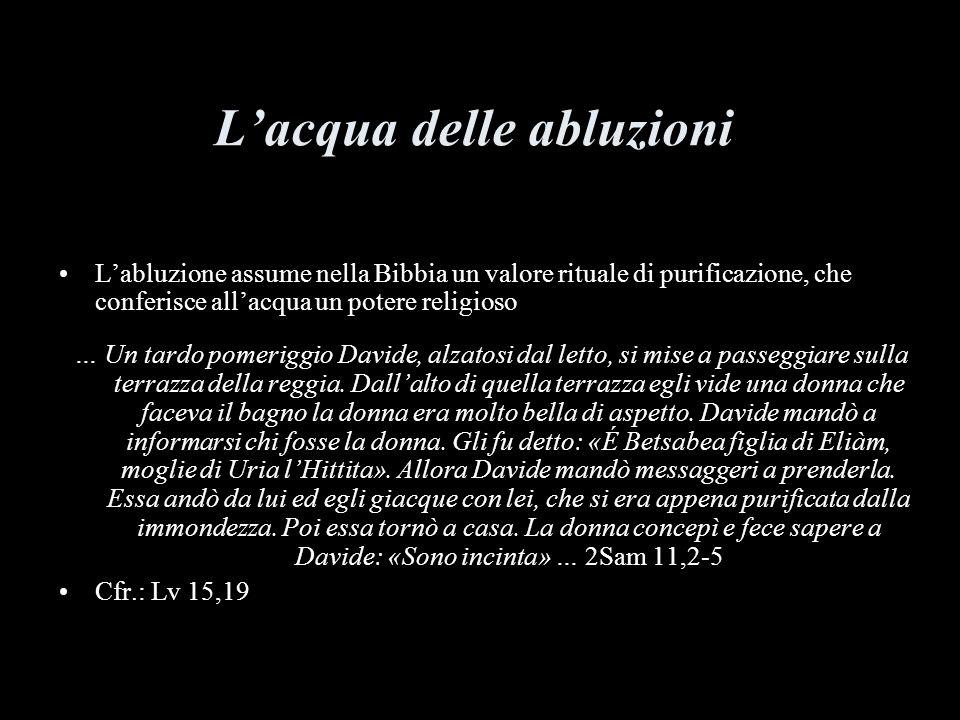 Lacqua delle abluzioni Labluzione assume nella Bibbia un valore rituale di purificazione, che conferisce allacqua un potere religioso … Un tardo pomeriggio Davide, alzatosi dal letto, si mise a passeggiare sulla terrazza della reggia.