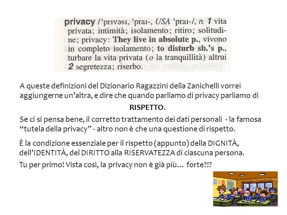 A queste definizioni del Dizionario Ragazzini della Zanichelli vorrei aggiungerne unaltra, e dire che quando parliamo di privacy parliamo di RISPETTO.