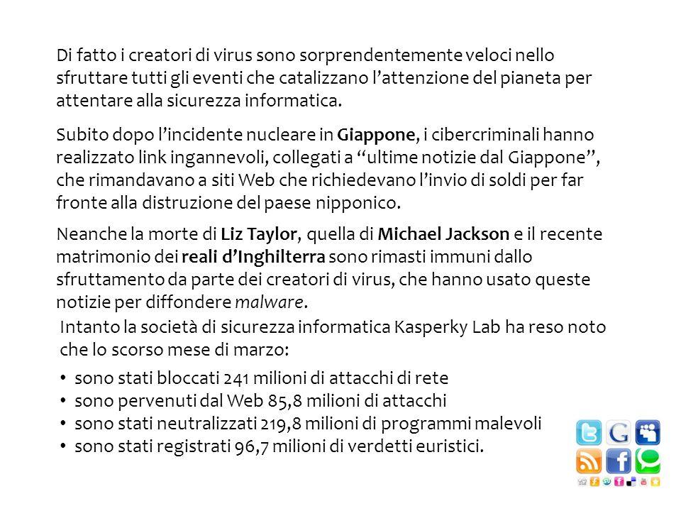 Neanche la morte di Liz Taylor, quella di Michael Jackson e il recente matrimonio dei reali dInghilterra sono rimasti immuni dallo sfruttamento da parte dei creatori di virus, che hanno usato queste notizie per diffondere malware.