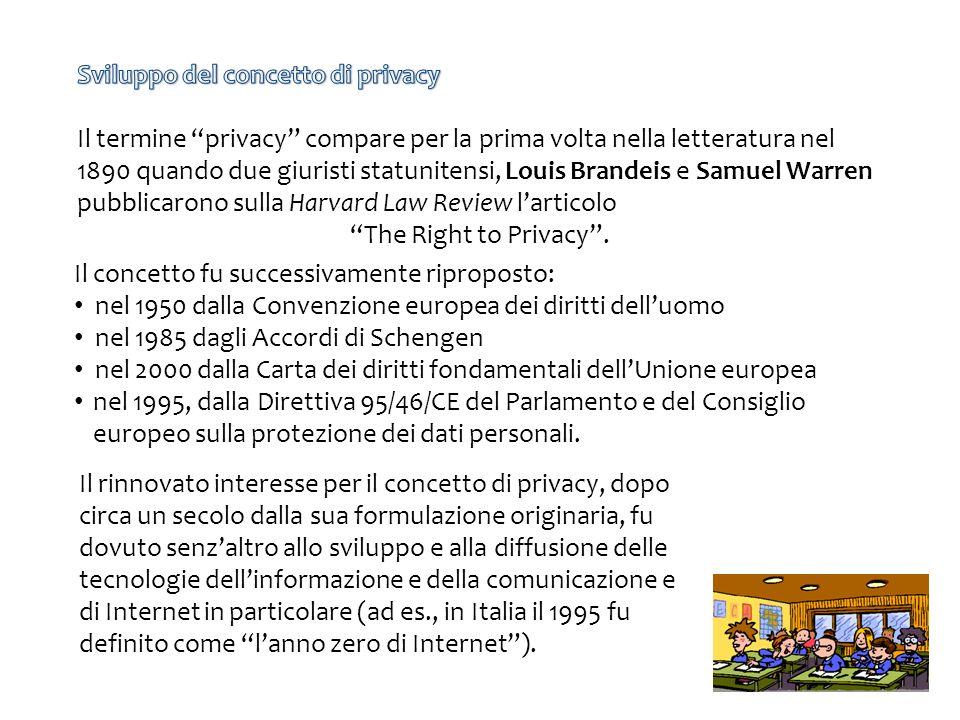 Il concetto fu successivamente riproposto: nel 1950 dalla Convenzione europea dei diritti delluomo nel 1985 dagli Accordi di Schengen nel 2000 dalla Carta dei diritti fondamentali dellUnione europea nel 1995, dalla Direttiva 95/46/CE del Parlamento e del Consiglio europeo sulla protezione dei dati personali.