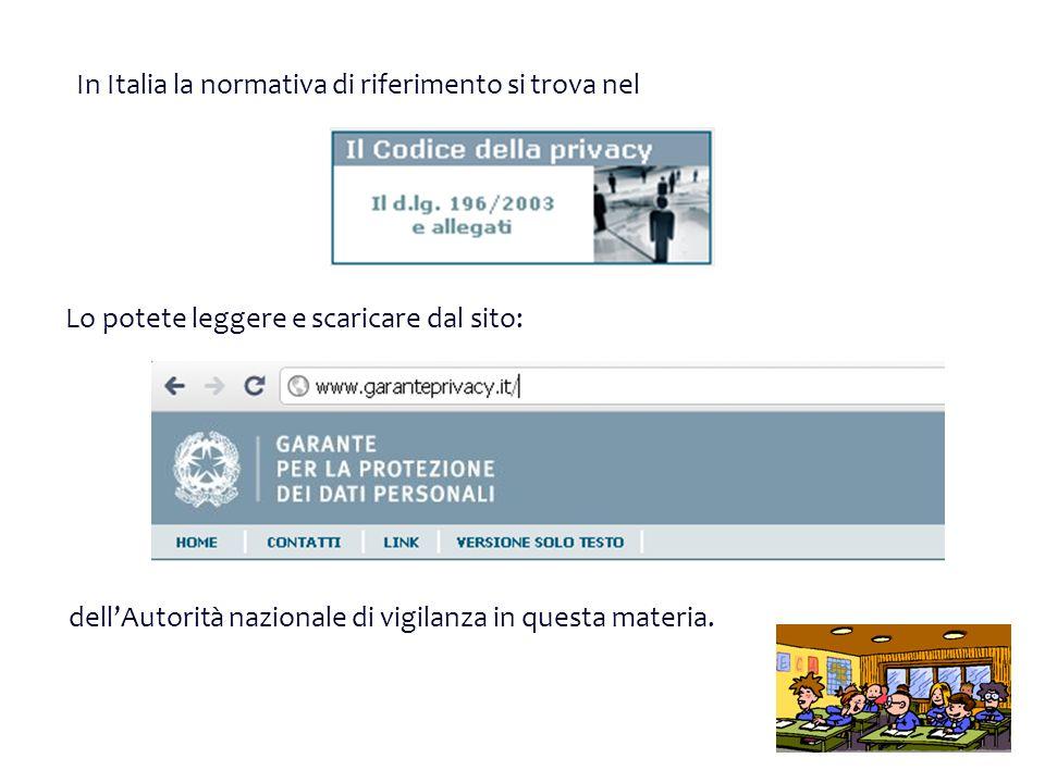 dellAutorità nazionale di vigilanza in questa materia. In Italia la normativa di riferimento si trova nel Lo potete leggere e scaricare dal sito: