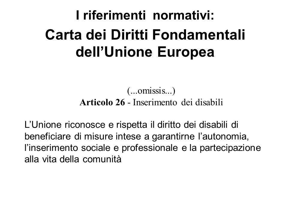 (...omissis...) Articolo 26 - Inserimento dei disabili LUnione riconosce e rispetta il diritto dei disabili di beneficiare di misure intese a garantir