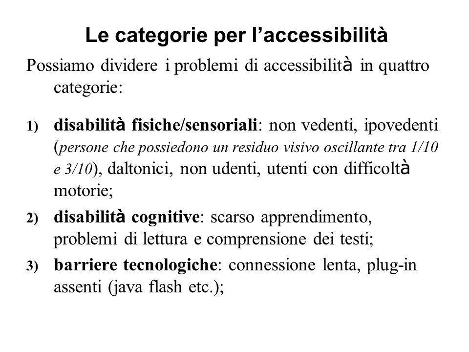Possiamo dividere i problemi di accessibilit à in quattro categorie: 1) disabilit à fisiche/sensoriali: non vedenti, ipovedenti ( persone che possiedo