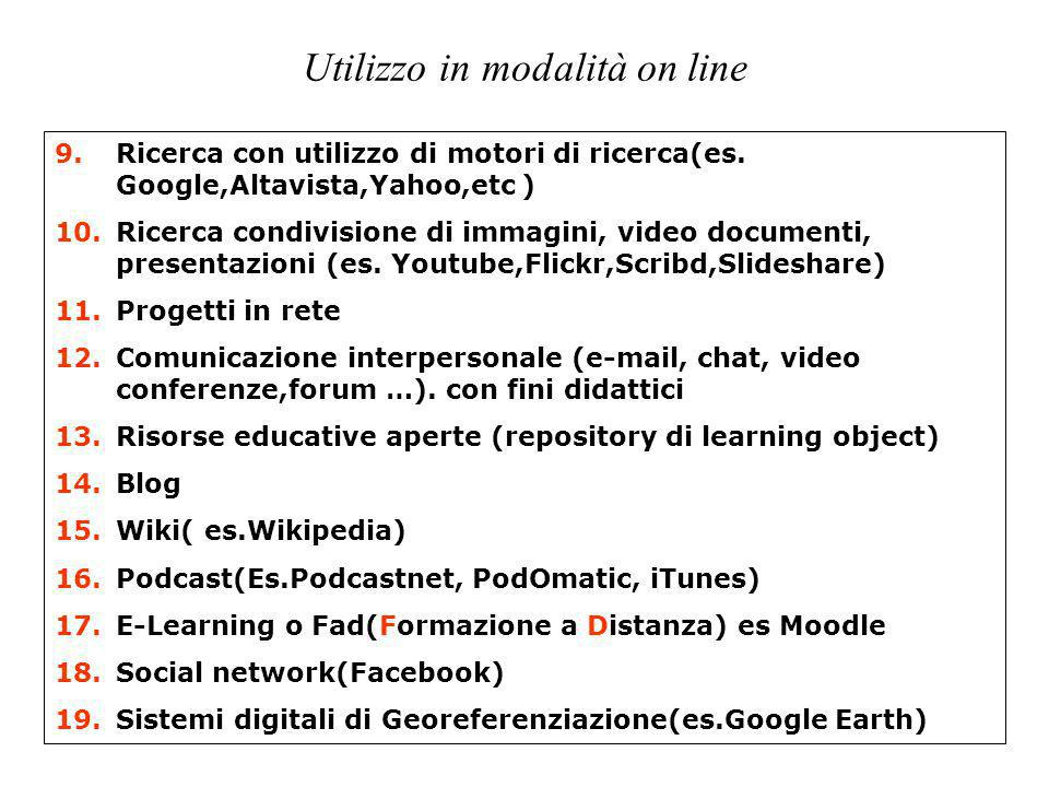 Utilizzo in modalità on line 9.Ricerca con utilizzo di motori di ricerca(es. Google,Altavista,Yahoo,etc ) 10.Ricerca condivisione di immagini, video d