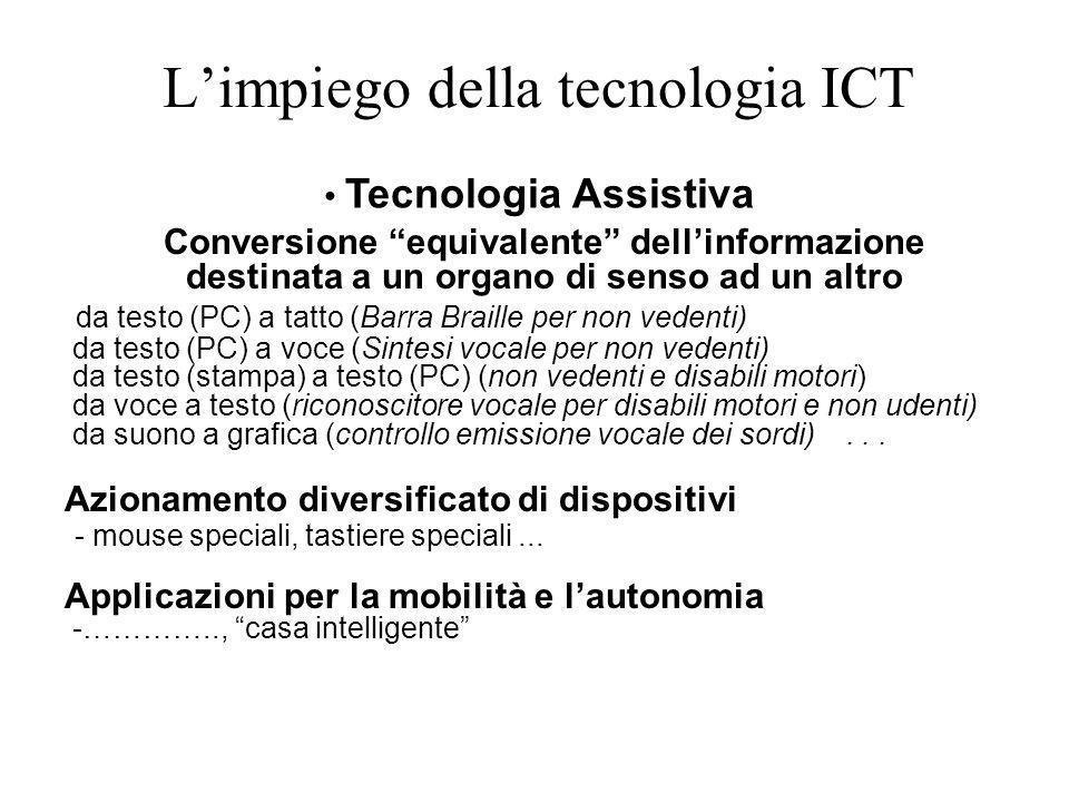 Limpiego della tecnologia ICT Conversione equivalente dellinformazione destinata a un organo di senso ad un altro da testo (PC) a tatto (Barra Braille