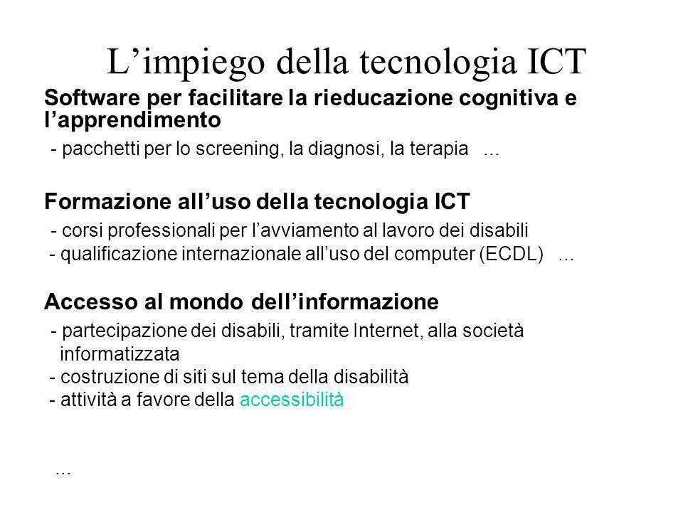 Limpiego della tecnologia ICT Software per facilitare la rieducazione cognitiva e lapprendimento - pacchetti per lo screening, la diagnosi, la terapia