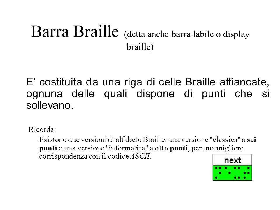 Barra Braille (detta anche barra labile o display braille) Ricorda: Esistono due versioni di alfabeto Braille: una versione