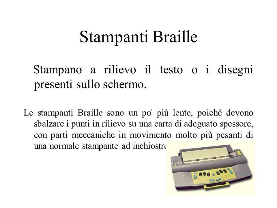 Stampanti Braille Stampano a rilievo il testo o i disegni presenti sullo schermo. Le stampanti Braille sono un po' più lente, poiché devono sbalzare i