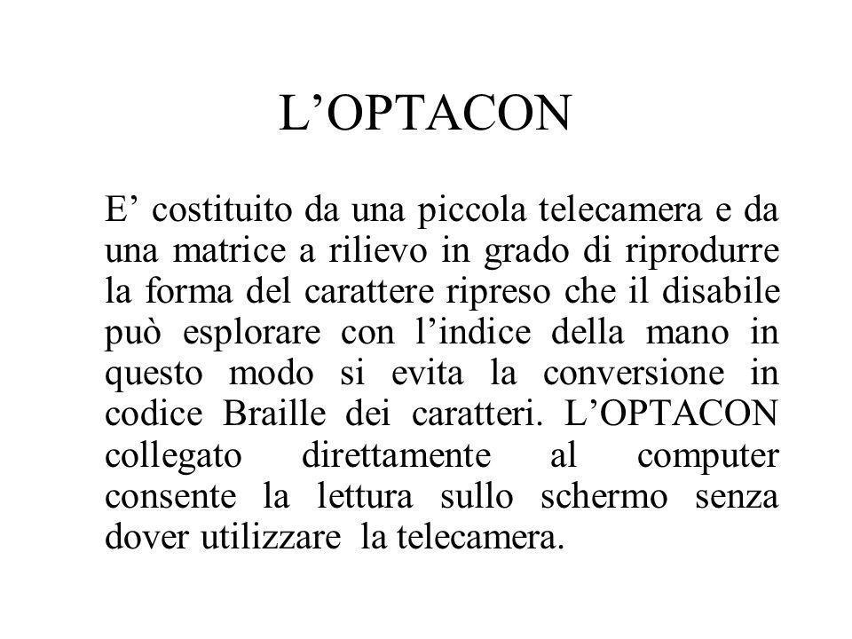 LOPTACON E costituito da una piccola telecamera e da una matrice a rilievo in grado di riprodurre la forma del carattere ripreso che il disabile può e
