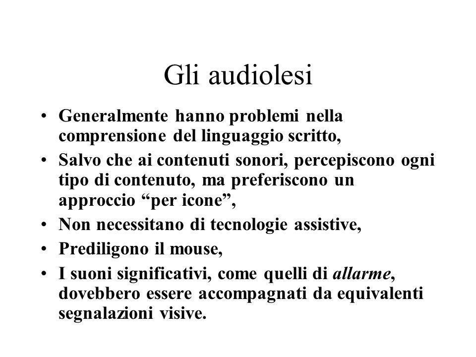 Gli audiolesi Generalmente hanno problemi nella comprensione del linguaggio scritto, Salvo che ai contenuti sonori, percepiscono ogni tipo di contenut