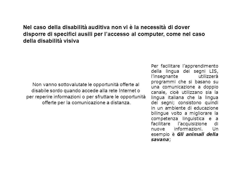 Nel caso della disabilità auditiva non vi è la necessità di dover disporre di specifici ausili per laccesso al computer, come nel caso della disabilit