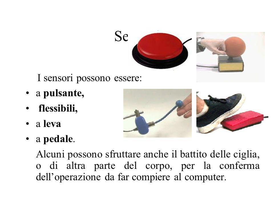 Sensori I sensori possono essere: a pulsante, flessibili, a leva a pedale. Alcuni possono sfruttare anche il battito delle ciglia, o di altra parte de