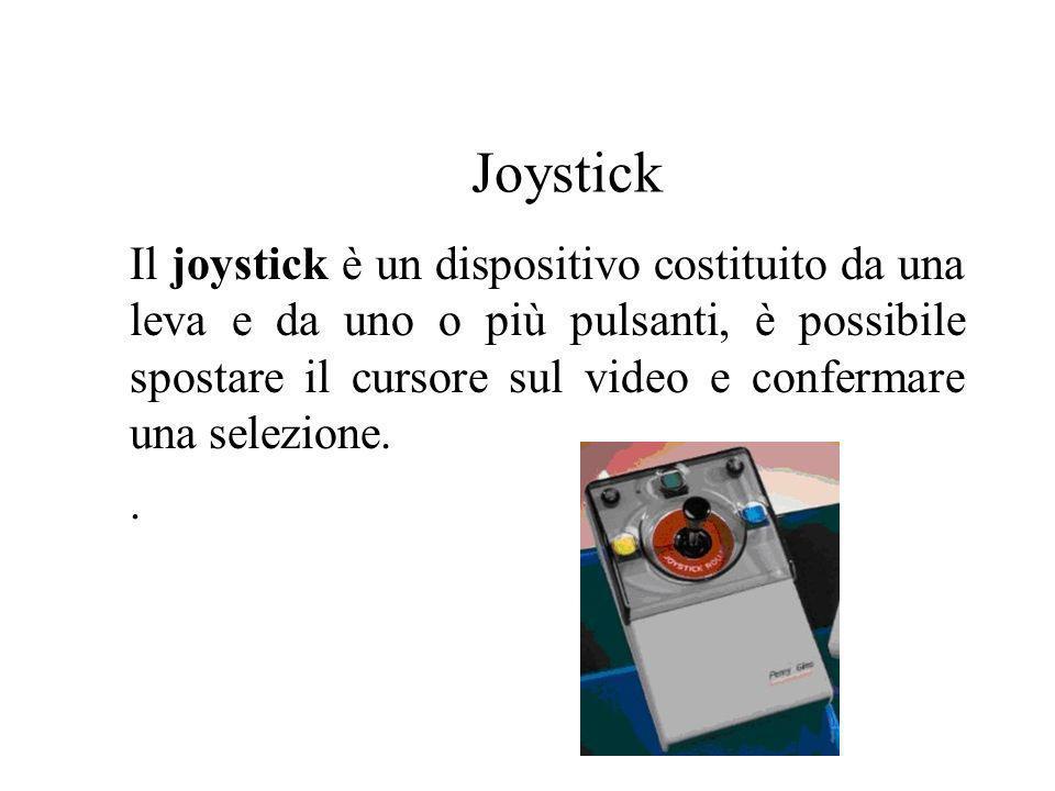 Joystick Il joystick è un dispositivo costituito da una leva e da uno o più pulsanti, è possibile spostare il cursore sul video e confermare una selez