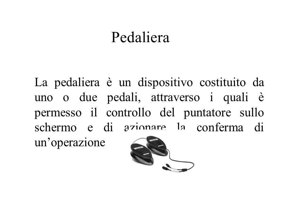 Pedaliera La pedaliera è un dispositivo costituito da uno o due pedali, attraverso i quali è permesso il controllo del puntatore sullo schermo e di az