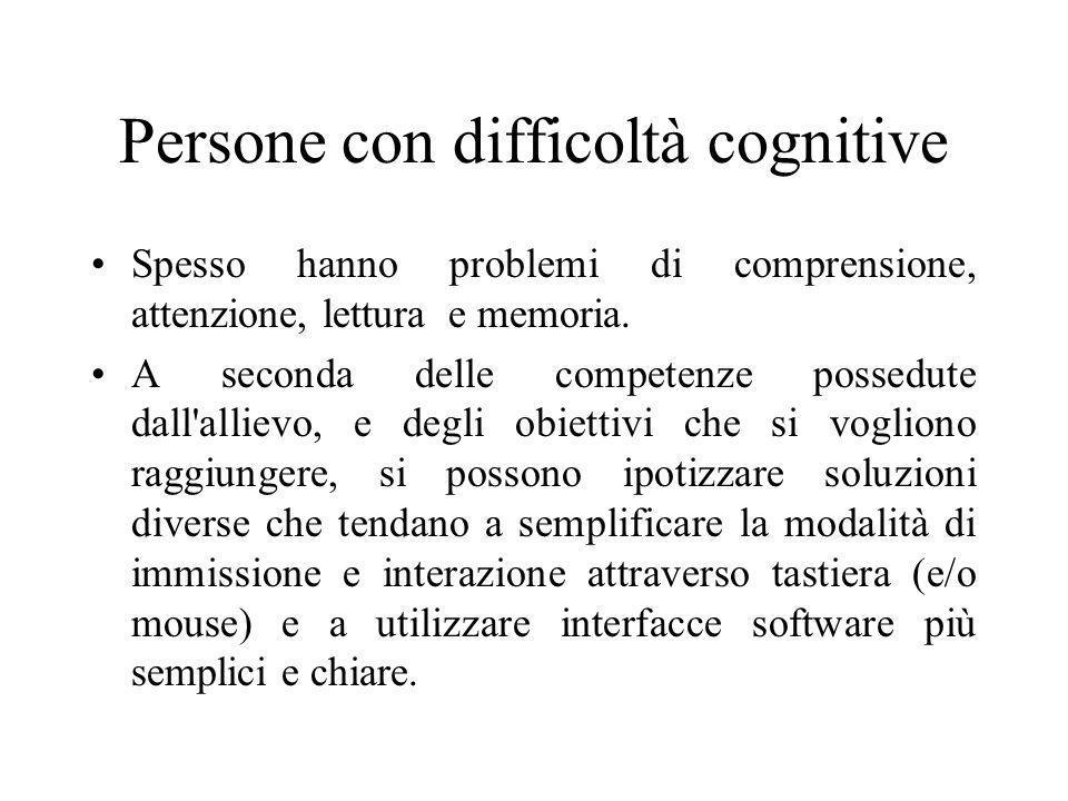 Persone con difficoltà cognitive Spesso hanno problemi di comprensione, attenzione, lettura e memoria. A seconda delle competenze possedute dall'allie
