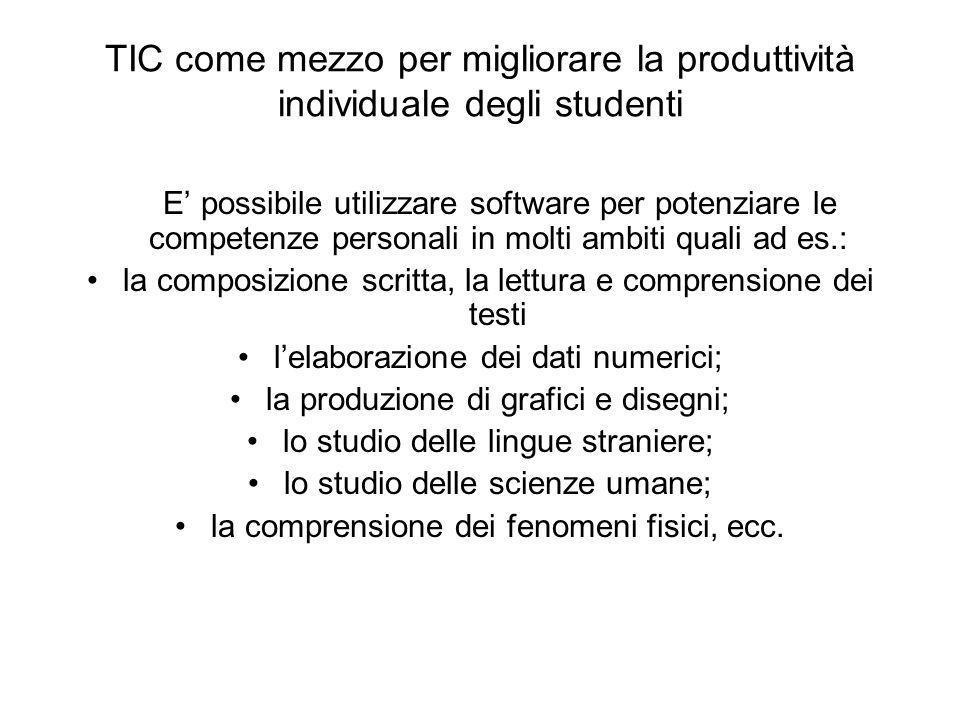 TIC come mezzo per migliorare la produttività individuale degli studenti E possibile utilizzare software per potenziare le competenze personali in mol