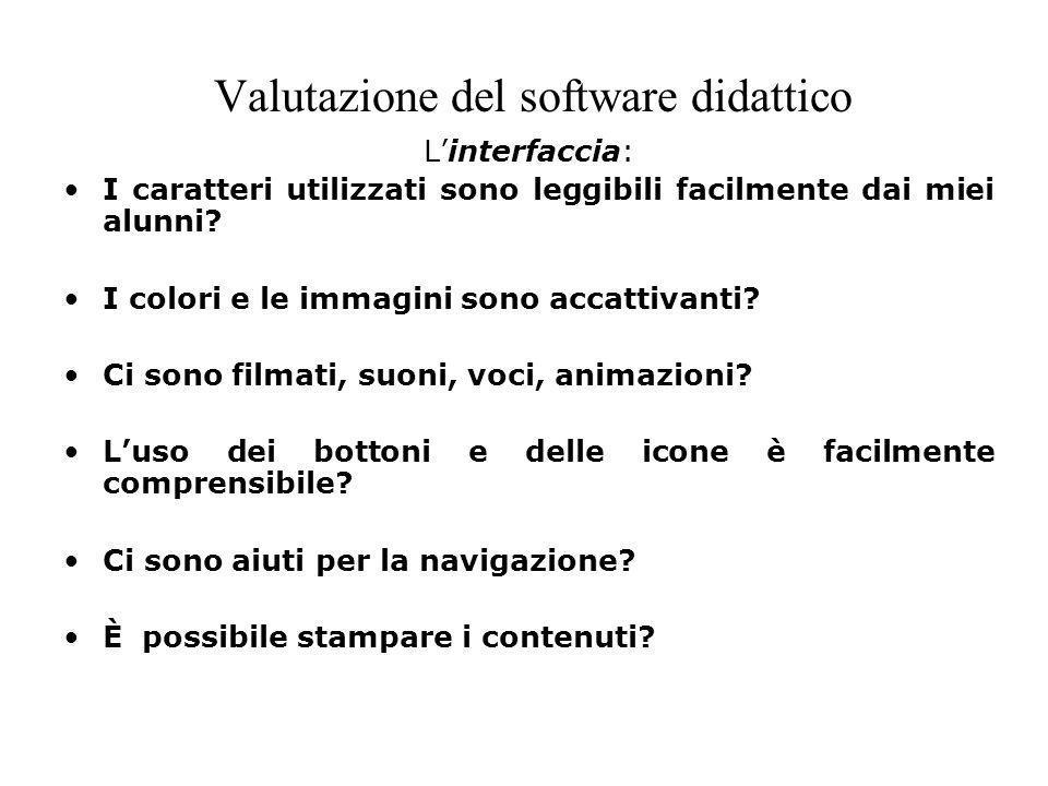 Valutazione del software didattico Linterfaccia: I caratteri utilizzati sono leggibili facilmente dai miei alunni? I colori e le immagini sono accatti