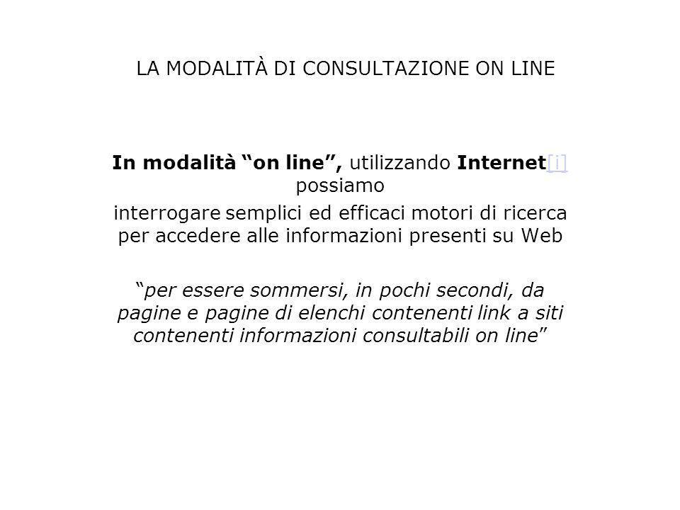 LA MODALITÀ DI CONSULTAZIONE ON LINE In modalità on line, utilizzando Internet[i] possiamo[i] interrogare semplici ed efficaci motori di ricerca per a