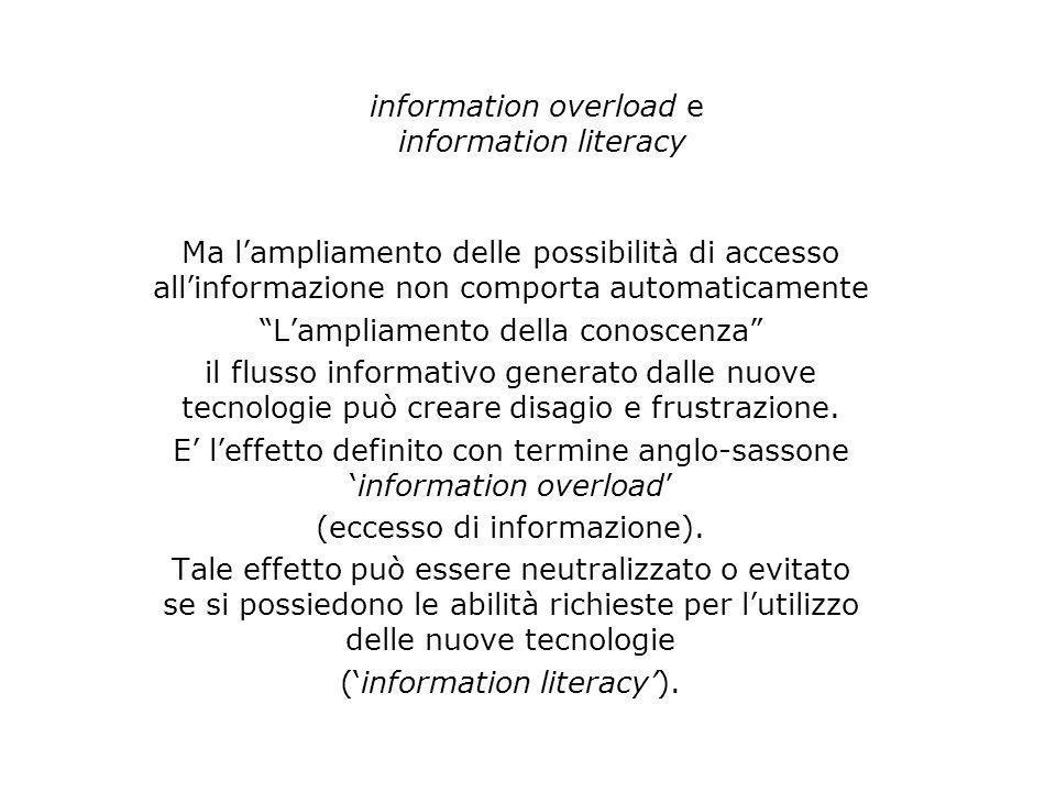 information overload e information literacy Ma lampliamento delle possibilità di accesso allinformazione non comporta automaticamente Lampliamento del