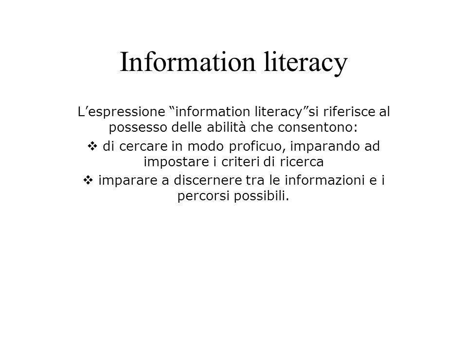 Information literacy Lespressione information literacysi riferisce al possesso delle abilità che consentono: di cercare in modo proficuo, imparando ad