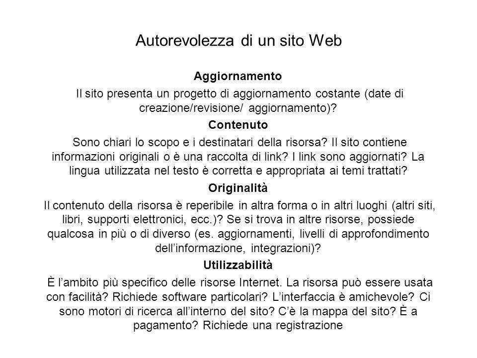 Autorevolezza di un sito Web Aggiornamento Il sito presenta un progetto di aggiornamento costante (date di creazione/revisione/ aggiornamento)? Conten