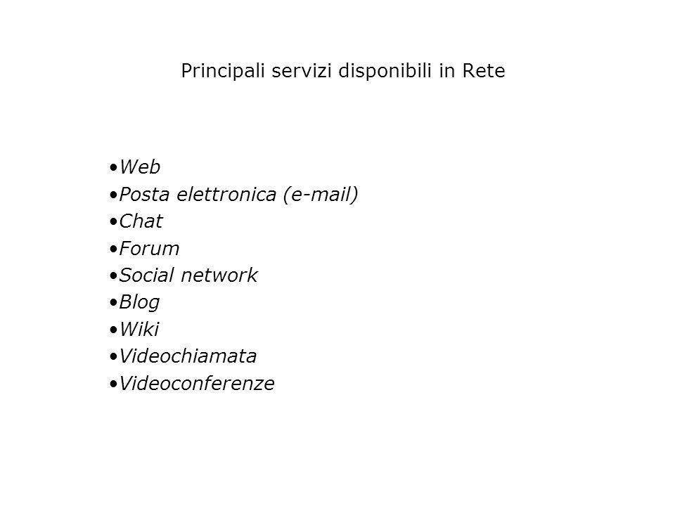 Principali servizi disponibili in Rete Web Posta elettronica (e-mail) Chat Forum Social network Blog Wiki Videochiamata Videoconferenze