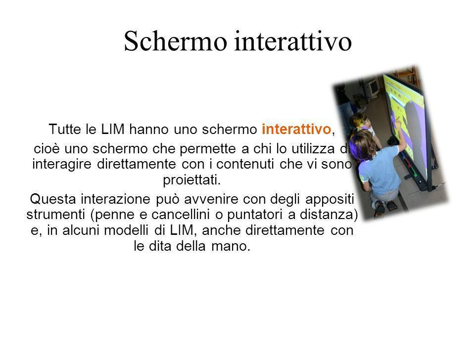 Schermo interattivo Tutte le LIM hanno uno schermo interattivo, cioè uno schermo che permette a chi lo utilizza di interagire direttamente con i conte