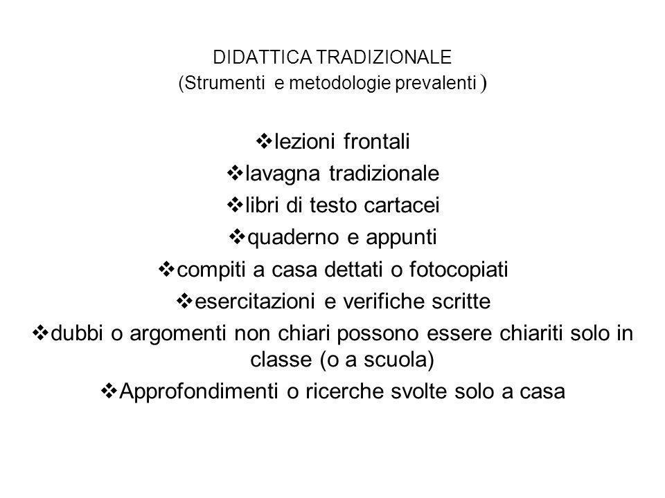DIDATTICA TRADIZIONALE (Strumenti e metodologie prevalenti ) lezioni frontali lavagna tradizionale libri di testo cartacei quaderno e appunti compiti