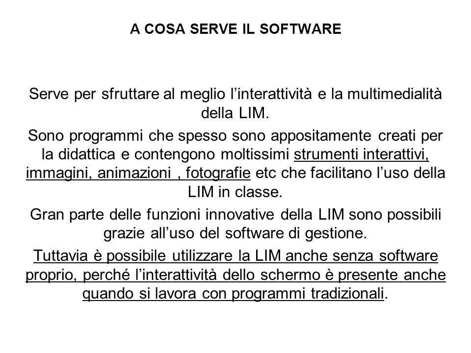 A COSA SERVE IL SOFTWARE Serve per sfruttare al meglio linterattività e la multimedialità della LIM. Sono programmi che spesso sono appositamente crea