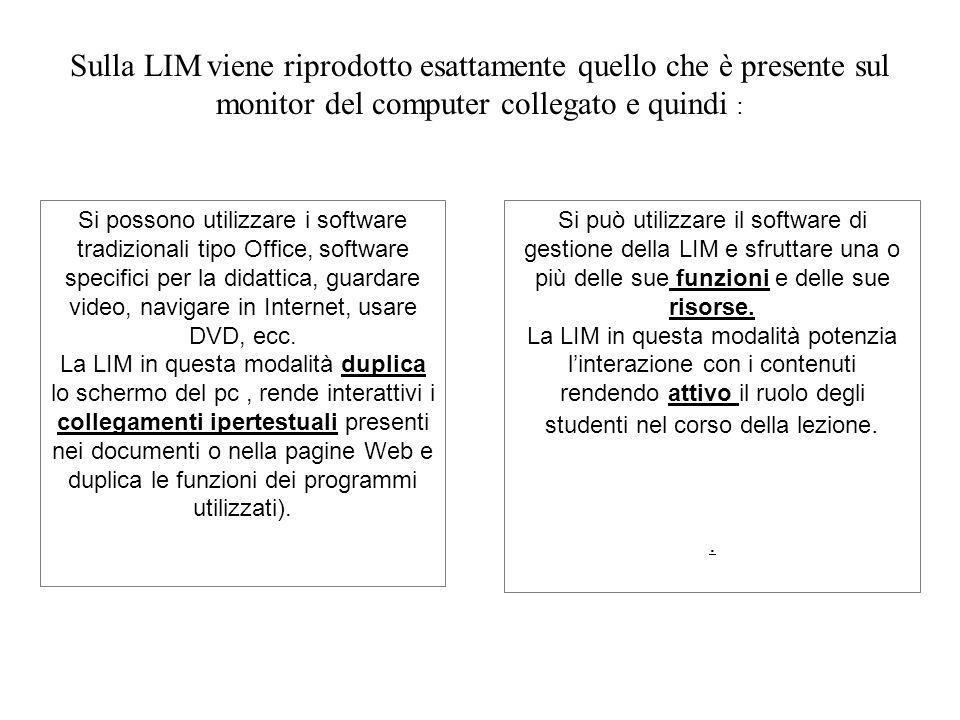 Sulla LIM viene riprodotto esattamente quello che è presente sul monitor del computer collegato e quindi : Si possono utilizzare i software tradiziona