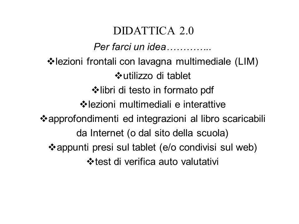 DIDATTICA 2.0 Per farci un idea………….. lezioni frontali con lavagna multimediale (LIM) utilizzo di tablet libri di testo in formato pdf lezioni multime