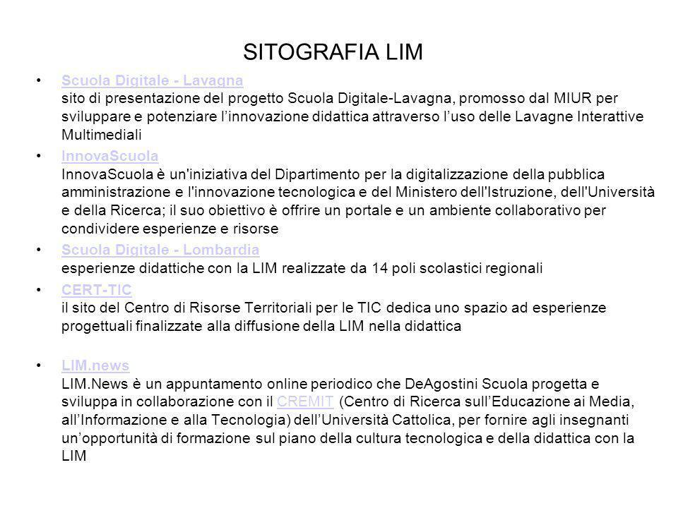 SITOGRAFIA LIM Scuola Digitale - Lavagna sito di presentazione del progetto Scuola Digitale-Lavagna, promosso dal MIUR per sviluppare e potenziare lin