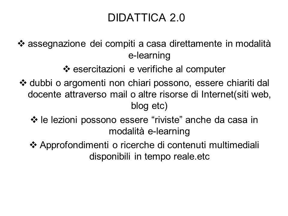 DIDATTICA 2.0 assegnazione dei compiti a casa direttamente in modalità e-learning esercitazioni e verifiche al computer dubbi o argomenti non chiari p