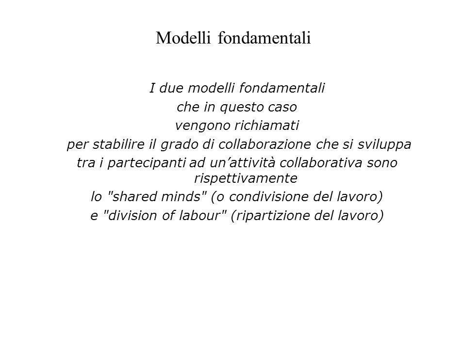 Modelli fondamentali I due modelli fondamentali che in questo caso vengono richiamati per stabilire il grado di collaborazione che si sviluppa tra i p
