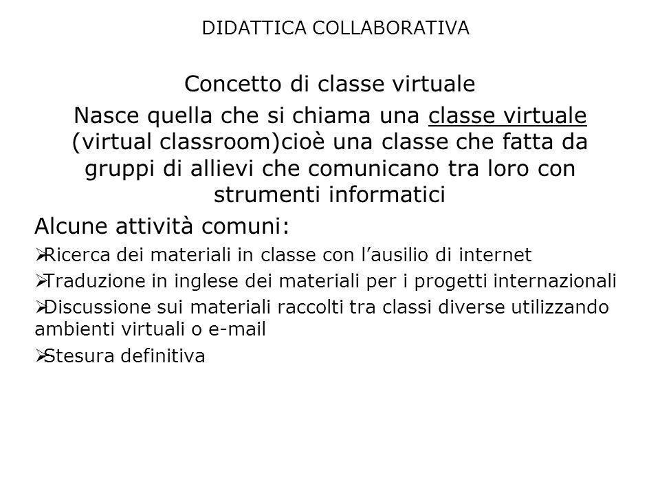 DIDATTICA COLLABORATIVA Concetto di classe virtuale Nasce quella che si chiama una classe virtuale (virtual classroom)cioè una classe che fatta da gru
