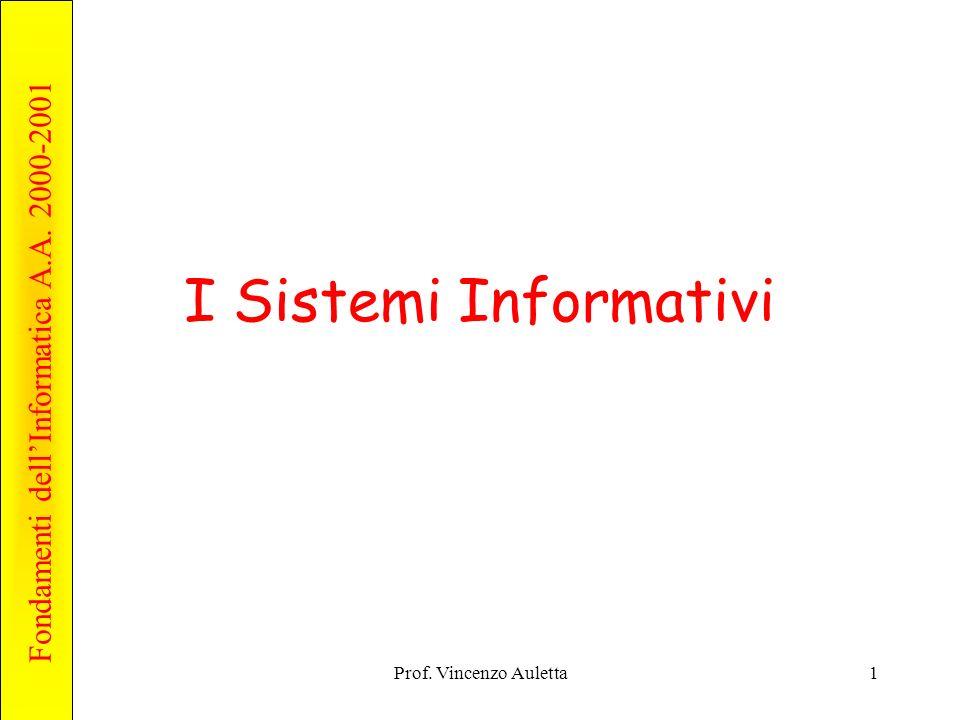Fondamenti dellInformatica A.A. 2000-2001 Prof. Vincenzo Auletta1 I Sistemi Informativi