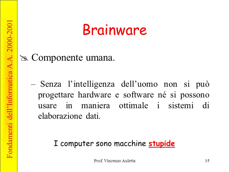 Fondamenti dellInformatica A.A. 2000-2001 Prof. Vincenzo Auletta35 Brainware Componente umana.