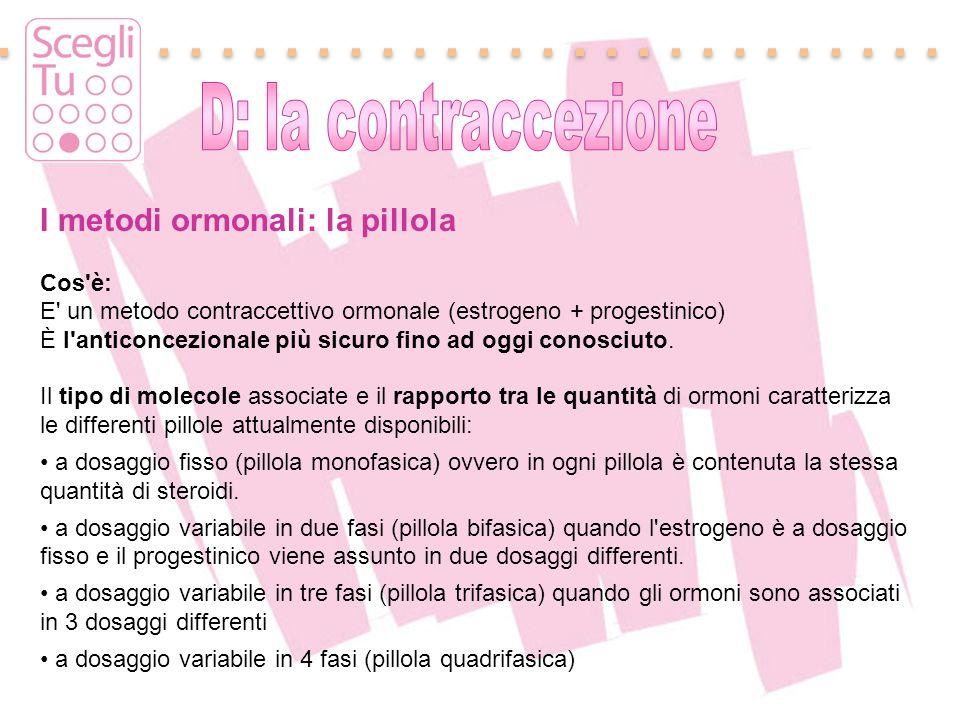 I metodi ormonali: la pillola Cos'è: E' un metodo contraccettivo ormonale (estrogeno + progestinico) È l'anticoncezionale più sicuro fino ad oggi cono